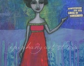 "8"" x 12"" Poem Art Wall Decor - ""The Secret"" - Fine Art Giclee Print - Divine Feminine, Blue Pink Green, Holy Woman, Black Hair Red Dress"