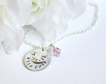 Sterling Silver Personalized Baby Child's Name and Birthdate Hand Stamped Engraved Round Charms, New Mom Necklace -- FREE Gift Packaging