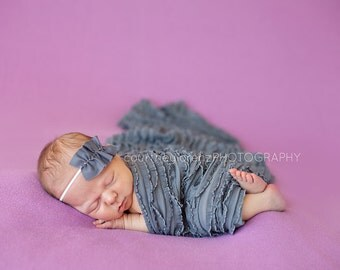 Gia- Gray Ruffle Headband /Baby Photography Props Fits Newborn, Toddler, or Adult
