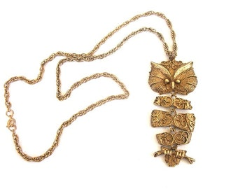 Vintage Articulated Gold Owl Necklace - Extra Long Tagt Team