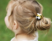 Bumble Bee Hair Ties Cute Felted Wool Bobble Elastic Loop For Ponytail