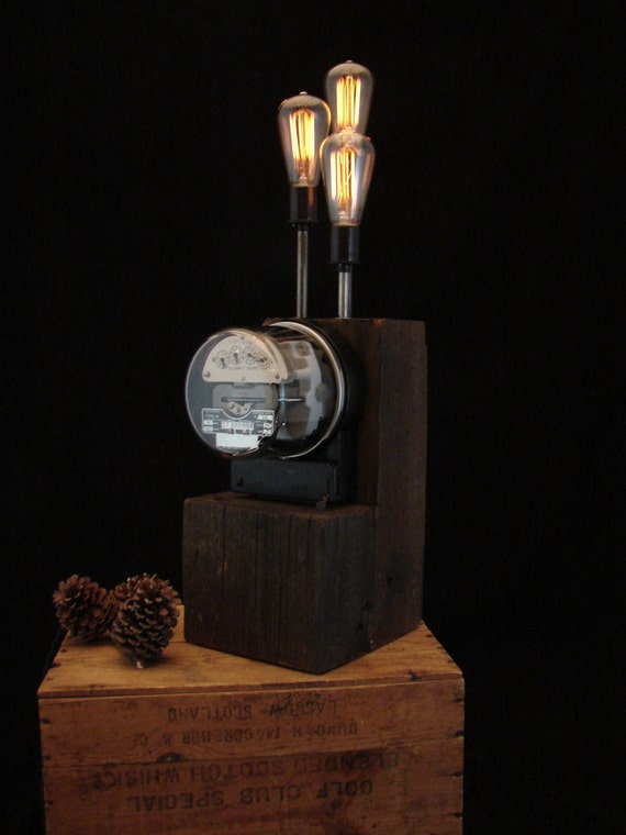 Table Lamp Upcycled Vintage Electric Meter