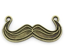 30 WHOLESALE Mustache Connectors - Antique Bronze - 34x16mm - Ships IMMEDIATELY from California - BC614a