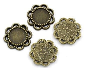 10 Cabochon Frames - WHOLESALE - Antique Bronze Setting - Bezels - 14mm - Holds 8mm - Ships IMMEDIATELY from California - BC730a