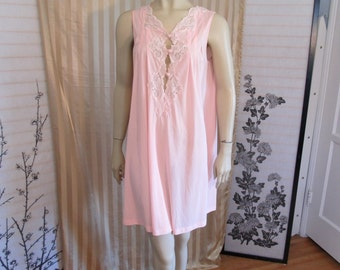 Vintage 70s Pink KAYSER Lace Bodice Tent Negligee Lingerie Short Shift Nightgown Women's size M