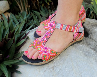 Pink T Strap Vegan Womens Sandals In  Ethnic Hmong Embroidery And Washed Batik - Lindsay