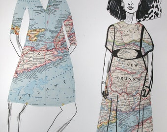 Original drawing/collage, fashion illustration, Map Dresses