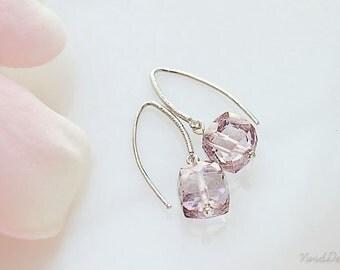 Mystic Pink Quartz Earrings, Pink Cube Gemstone Earrings, Simple Earrings Small Pink Earrings