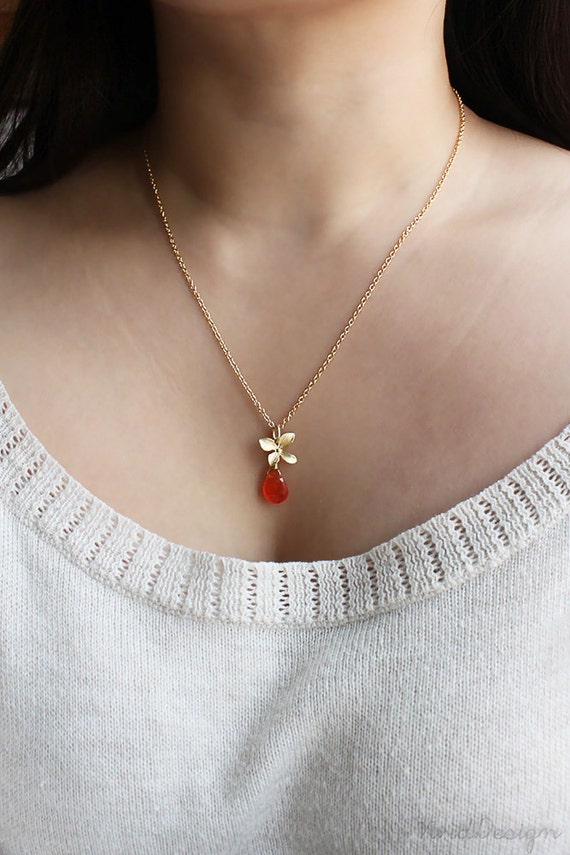 Carnelian Orchid Necklace, August Birthstone, Bridal Jewelry, Spring Wedding