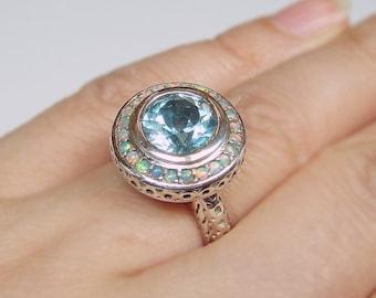Stunning Aquamarine & Opal Filigree Sterling Silver .925 Ring