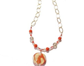 Venetian Glass Orange Gold Pendant Chain Necklace, Murano Glass Jewelry, Italian Jewellery, Murano Glass Necklace, Gifts For Her