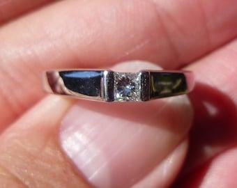 Tension set  3.5mm   Platinum diamond  with 25 point PRINCESS Diamond  VS1 Engagement Ring
