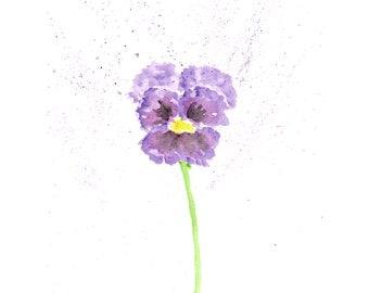 Flower painting, watercolor flowers, watercolor painting, pansy painting, flower art, flower print, pansy art, purple flowers, 5X7 print