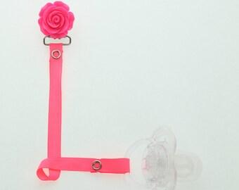 Hot Pink Flower Pacifier Clip (RFLHP)