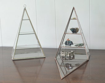 Polaris Pyramid Display Box - glass pyramid - jewelry box - hinged - silver or copper - eco friendly