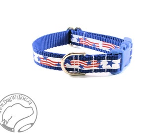"SALE Fourth of July - Dog Collar - 3/4"" Wide (19mm) - Choice of collar size and style - Martingale or Quick Release // Red, White and Blue"
