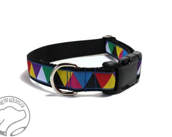 """Multi Color Triangles Dog Collar - 1"""" (25mm)Wide - Martingale or Side Release - Choice of collar style and size // Blue // Purple // Red"""