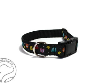 "Pac Man © and Ghosts Dog Collar - 1"" (25mm) Wide - Martingale or Quick Side Release - Choice of collar style and size"
