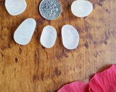 Sale: Flawless sea glass from Hawaii, medium white beach glass boulders, natural authentic lot 2