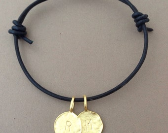 Two Gold Personalized Initial Letter Adjustable Leather Bracelet