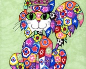 ACEO Giclee Art PRINT, Colorful Millefiori Cat Queen on Green with Pink Crown by Debbie Hart, Signed Open Edition ATC Card 2.5 x 3.5 inches