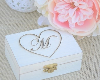 Personalized Rustic chic ring bearer box- monogram ring bearer box