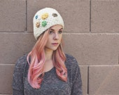 CROCHET HAT // crocheted buttons // one of a kind beanie // cream mustard green turquoise // cap