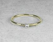 9ct Gold Diamond Skinny Stacking Ring