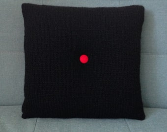 Knit Pillow, 60's Style Pillow, Buttoned Cushion, UK Seller, Black pillow, Knitted Cushion