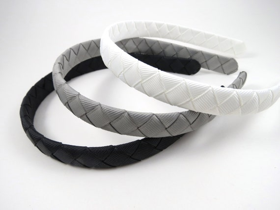 Woven Headband SET - Black Headband - Silver Gray Headband - White Headband - Headband Gift Set - Child Toddler Teenager Adult Headband