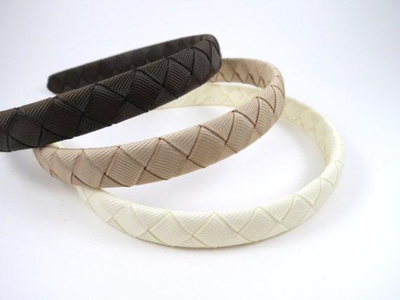 Brown Headband SET - Tan Headband - Ivory Headband - Earth Tone Headbands - Neutral Headbands - Ribbon Woven - Girl Teenager Adult Headband
