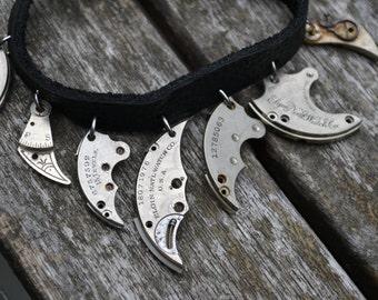 Black leather bracelet with vintage pocket watch parts - Steampunk