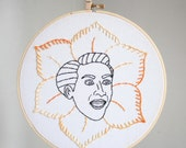 "Nicolas Cage ""in full bloom"" hand embroidered portrait"