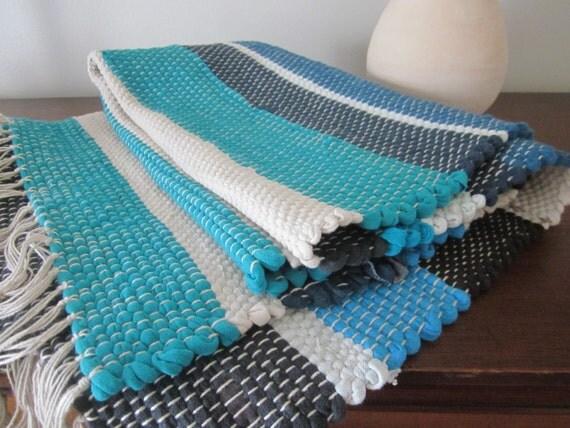 main rectangulaire tissé tapis rayé bleu turquoise marron - Tapis Salle De Bain Bleu