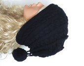 Machine Knit Hat Womens Hat - black cable knit  pompom hat- Chunky  Knit Winter Accessories