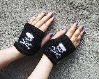 Skeleton Fingerless Gloves Knitted Wrist Warmers Winter Cozy Gloves Wrist Warmers, Fingerless Gloves, Mittens, SKULL gloves, skeletal gift