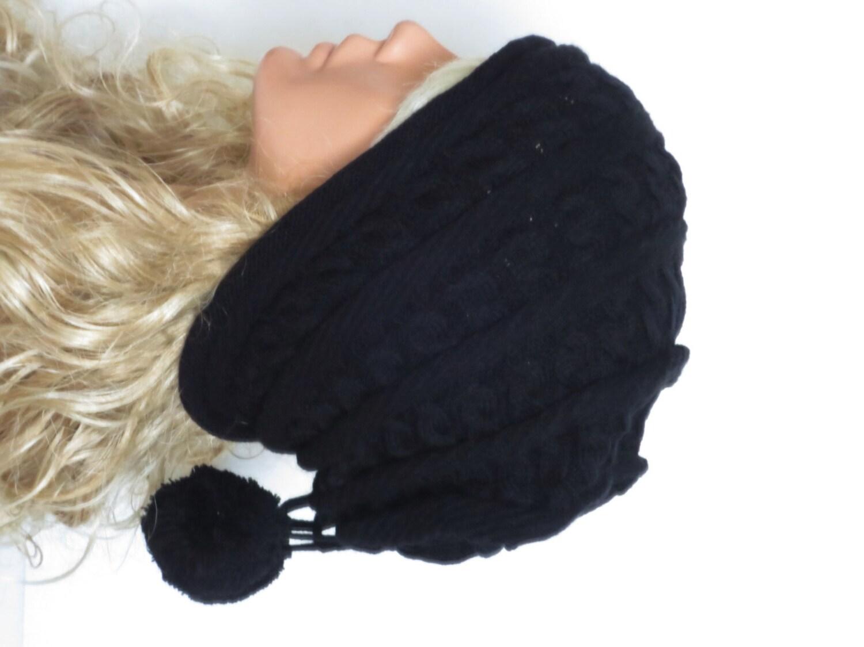 machine knit hat womens hat black cable knit by emofofashion