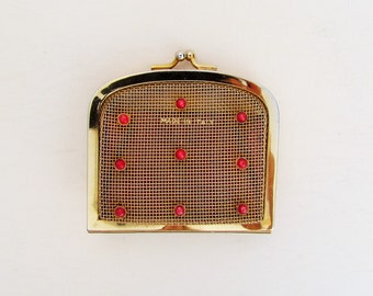 1950's gold mesh change purse, coin purse set with red cabochons, small purse made in Italy
