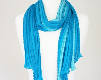 Wrinkle Shaded Satin Long scarf - Two Tone shaded - soft, luxurious and rich