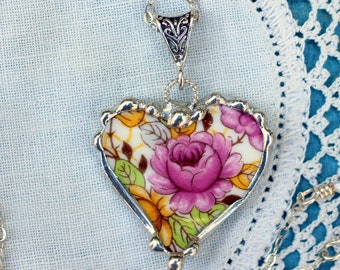 Necklace, Broken China Jewelry, Broken China Necklace, Heart Pendant, Pink Floral China, Sterling Silver, Soldered Jewelry