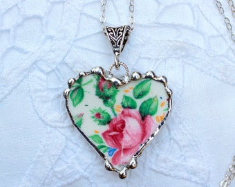 Necklace, Broken China Jewelry, Broken China Necklace, Heart Pendant, Pink Rose Chintz, Sterling Silver, Soldered Jewelry