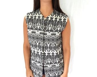 60s Tribal Vintage Vest Black and White Women Ethnic South America Guatemala Woven Graphic Texture Festival Sleeveless Fringe Worldly