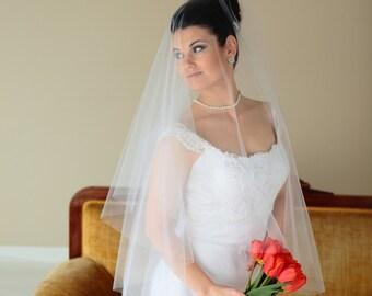 "2-Tier Circular Drop fingertip veil, bridal veil, Available 36"" - 46"" lengths"