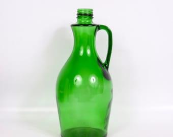 Vintage Emerald Green Glass Bottle Wine Large Decorative Art Glass Barware Flower Vase