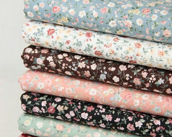 Floral Flower Cotton Fabric,Shabby Chic Flower Fabric, White Blue Brown Floral Cotton Fabric 1/2 Yard (QT356)