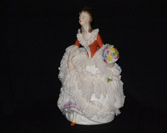 """Vintage-Volkstedt-German-Porcelain-Dresden-Lace-Lady Post 1940's - Victorian with Bouquet Hand Painted-Figurine  6.5"""""""