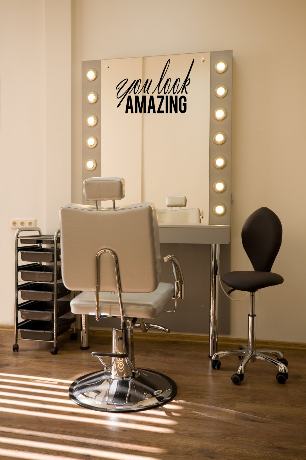 you look amazing beauty salon mirror decal beautician vinyl. Black Bedroom Furniture Sets. Home Design Ideas