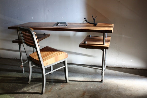 Items similar to industrial desk rustic table for Industrial pipe desk