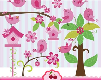 Pink and Polka dots  little birdies digital clipart set-Spring birdies clip art for-Personal and Commercial Use