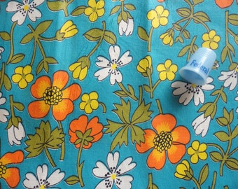 gold and white flowers on dark turquoise floral print vintage cotton fabric -- 39 wide by 1 yard